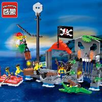 一号玩具 启蒙乐高式积木朔料组装模型6岁-12岁儿童益智玩具海盗系列骷髅水寨309