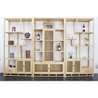 新中式家具实木博古架禅意茶叶架置物架白蜡木书柜落地简约展示柜 款式3 三连组合 1-1.2米
