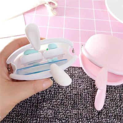 隐形眼镜盒少女可爱小清新萌兔硅胶包便携卡通眼镜护理盒子美瞳盒双联盒伴侣盒套装