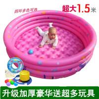儿童气垫游泳池 宝宝洗澡打气游泳池婴儿童y冲气垫家用加厚吹充汽游泳池家用防滑 CX
