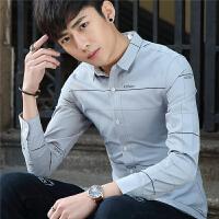 韩版休闲男士长袖衬衫青年格子小清新衬衣学生帅气寸衫潮