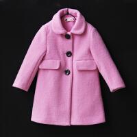 女童毛呢外套2018秋冬季新款呢大衣中大童翻领粉色长袖外套母女装