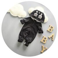婴儿衣服冬季宝宝连体衣加厚加绒新生儿卡通哈衣爬爬服3-6个月潮