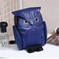 新款个性猫头鹰背包潮流电脑包旅行包男女学生书包动物双肩包 蓝色
