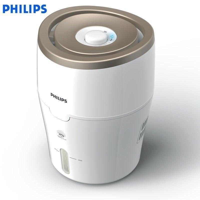 飞利浦(PHILIPS)空气加湿器 HU4811/00 上加水 纳米无雾恒湿 静音办公室卧室家用加湿 白色香槟色 减少99%细菌散布,2档风速调节 ,0水雾加湿