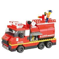 小鲁班M38-B0220益智积木急速火警城市系列大型消防车拼装益智玩具拼插