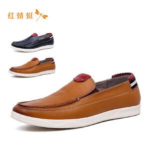 【专柜正品】红蜻蜓拼接时尚低跟舒适圆头男单鞋