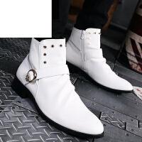 潮牌秋冬男士高帮皮鞋英伦尖头皮靴短筒权志龙EXO潮发型师靴短靴马丁靴子