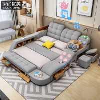 智能按摩榻榻米布艺床双人床2米主卧现代简约多功能储物婚床大床