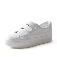 皮面内增高小白鞋女 春季百搭韩版休闲鞋子 魔术贴厚底松糕鞋
