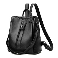 201新款双肩包女两用女包包韩版背包皮质学生书包大包时尚旅行包 黑色