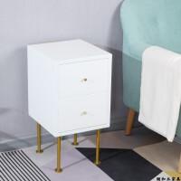 北欧格调床头柜实木床边柜简约现代沙发边柜实木铁艺搭配小柜子 组装
