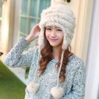 韩版雷锋潮护耳帽兔毛帽加厚保暖帽獭兔毛帽子女新款毛线帽