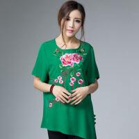 民族风女装棉麻绣花上衣 妈妈装衬衫 中国风大码T恤短袖夏款中老年