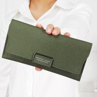 钱包女长款二折日韩版新款时尚十字纹皮夹大容量钱夹