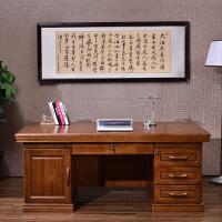 实木办公桌家用台式写字台橡木卧室书桌中式老板桌简易1.8米班台 否