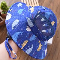 男童帽子夏款儿童防晒盆帽印花中大童渔夫帽遮阳薄款