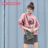 UGOCCAM粉色t恤女短袖纯棉2018夏季新款字母印花韩范chic宽松T恤