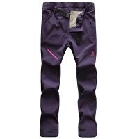 户外秋冬季冲锋裤男女式可拆卸防风防水透气加绒加厚滑雪裤登山裤 女 紫色