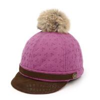 户外宝宝帽鸭舌帽男女童毛呢帽小孩时尚马术帽毛球帽
