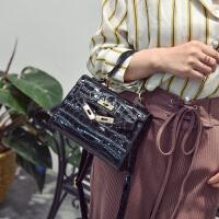 包包2018春新款女包鳄鱼纹铂金包手提包小漆皮凯莉包单肩包斜挎包