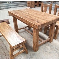 老榆木桌实木餐桌椅组合会议桌茶桌长方家用饭桌餐厅饭店酒店专用