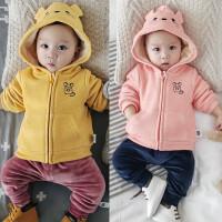 婴儿加绒上衣宝宝冬季卫衣绒衫外套0-3-6-9-12个月拉链外出服01岁