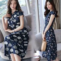 【满2件打6折】Fanru梵如 女装夏季新品韩版修身新款长款裙子休闲印花气质连衣裙 F178-1837