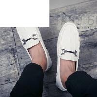 潮牌2017秋季个性新款豆豆鞋男鞋简约鳄鱼纹休闲鞋韩版百搭一脚蹬小皮鞋子
