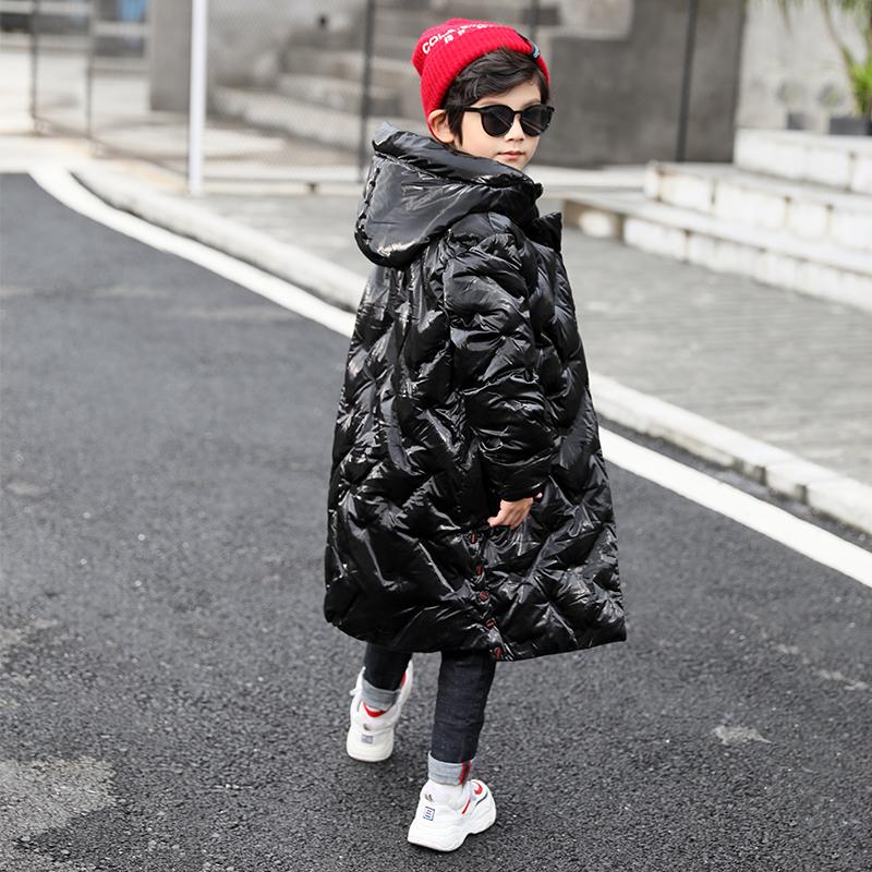 童装儿童冬装羽绒棉中长款洋气棉袄亮皮外套男童棉衣