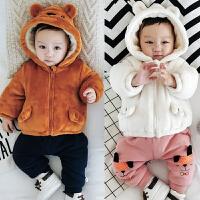 婴儿外套冬季保暖双层加绒上衣新生儿冬天拉链外出服0-1岁3-6-9月