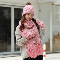 帽子围巾手套三件套女一体围脖韩版毛线帽子闺蜜圣诞生日礼物