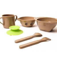 双枪儿童婴幼儿稻壳勺子叉子碗杯子学生餐具套装宝宝辅食碗DT1101