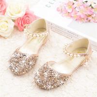 女童凉鞋儿童时尚包头水晶鞋银色表演宝宝平底公主鞋