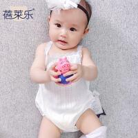 婴儿连体衣服男女宝宝新生儿春夏季1岁3个月吊带哈衣无袖吊带爬服