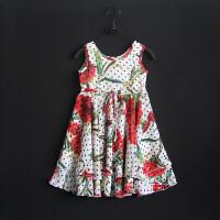 女童装新款夏装连衣裙背心裙康乃馨图案大摆裙蓬蓬裙抽带连衣裙
