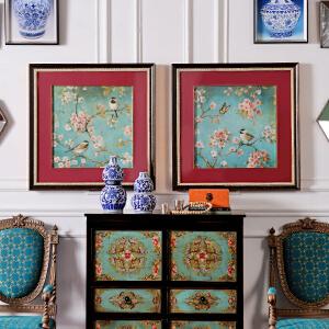 奇居良品 中美式家居墙面装饰挂画画芯客厅有框装饰画 春啼A款