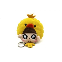 可爱小猫卡通女式钥匙包布艺抽拉式多功能钥匙包市民卡包小零钱包 黄色 小黄鸭