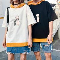 夏季日系原宿风拼色卡通卫衣男韩版连帽短袖情侣帽衫半袖T恤潮