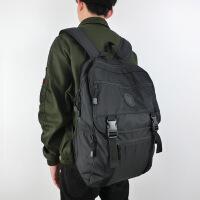 潮牌防水尼龙学生书包韩版纯色电脑双肩包男时尚潮流运动旅行背包dm 黑色
