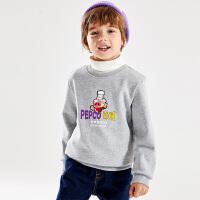 【2件3折到手价:63】小猪班纳童装男童加绒保暖上衣韩版潮冬季新款儿童卫衣长袖
