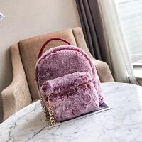 迷你双肩包冬季新款女包毛毛包獭兔毛百搭双肩背包女链条毛绒小包 红色+链条 收藏送卡包