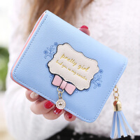 日韩版女生短款薄小钱包长款两折简约可爱皮夹大钞夹折叠钱夹学生