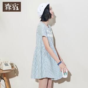 森宿夏装女宽松文艺范小清新复古格子拼接蕾丝连衣裙短袖