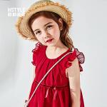 【限时3件3折到手价:83.4】韩都衣舍童装2019夏装新款无袖公主裙中大童红色背心裙女童连衣裙