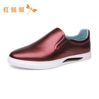 红蜻蜓时尚简约纯色舒适轻便一脚蹬套脚潮流休闲男鞋