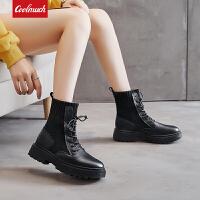 【��惠�r】Coolmuch女士�典百搭耐磨防滑高�秃竦遵R丁靴加�q保暖英���L女短靴YG9808