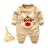 女婴儿连体衣冬季保暖连帽宝宝抱衣服秋冬装新生儿外出棉衣