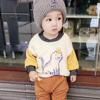 儿童加绒卫衣冬季新款1- 5岁宝宝卡通纯棉上衣男童休闲韩版打底衫
