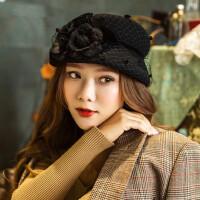 英伦复古贝雷帽女帽南瓜帽礼帽女士时尚花朵羊毛呢帽子